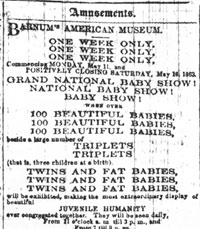 Baby Show Advertisement in the New York Tribune, May 1863