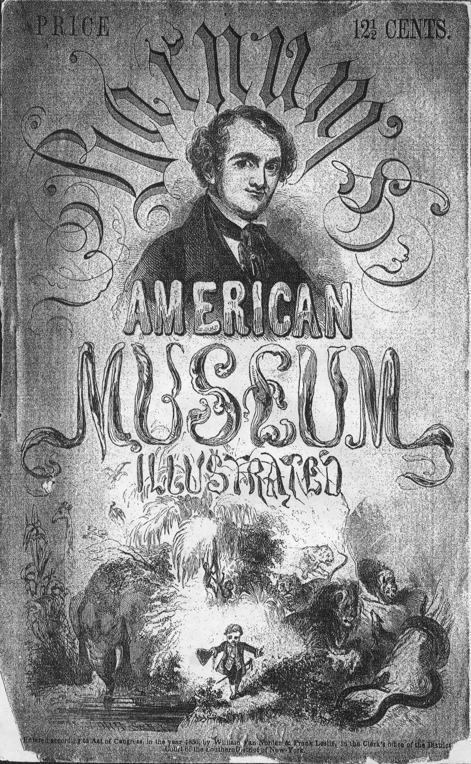 Cover of Barnums 1850 American Museum Illustrated Guide Book