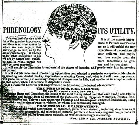 Advertisement for The Phrenological Cabinet, 1850